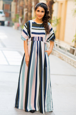 Peaches & Cream Stripe Crepe Maternity & Nursing Maxi