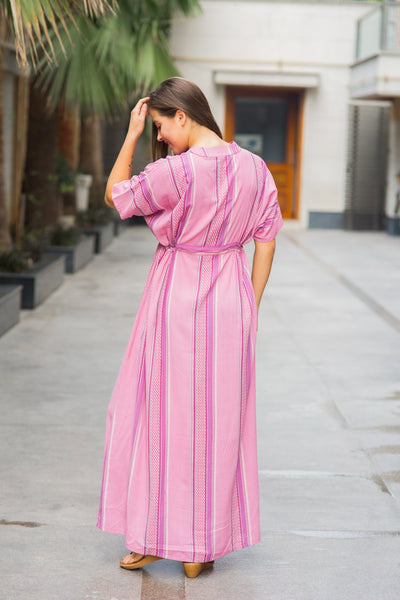 Kimono Carnation Stripe Maternity & Nursing Dress / Delivery Gown/ Night Dress - MOMZJOY.COM