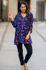 Midnight Blue Pintucks Maternity and Nursing Shirt