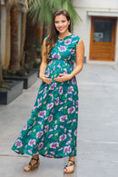 Tropical Floral Maternity & Nursing Sleeveless Wrap Dress