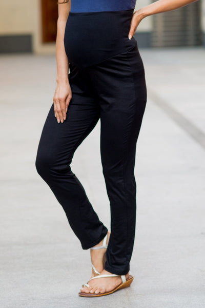 Versatile Black Over Bump Stretchable Maternity Leggings - MOMZJOY.COM