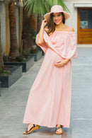 Peachy Pink Off-Shoulder Maternity Maxi Dress - MOMZJOY.COM