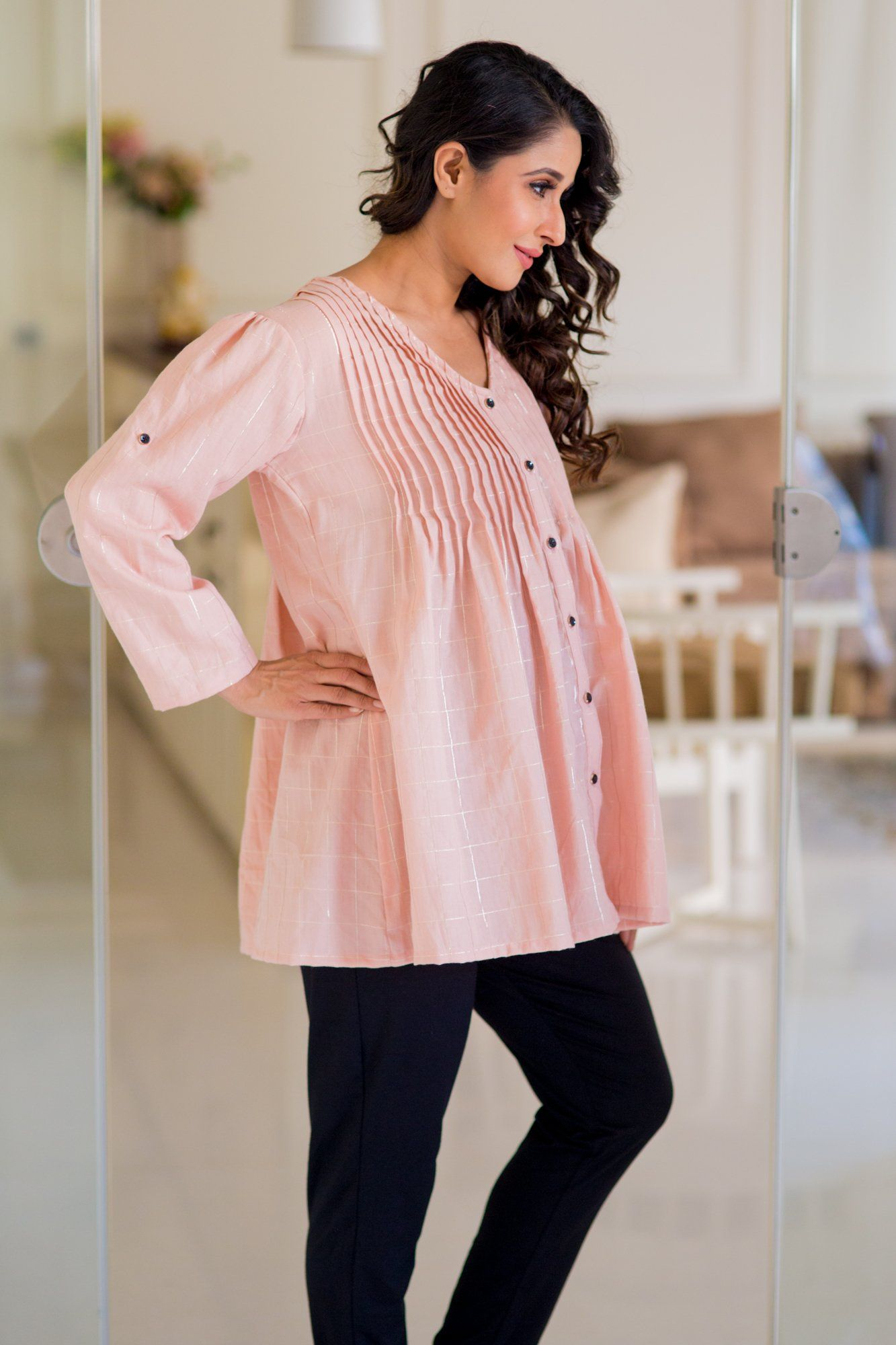 Gold Embellished Peach Pintucks Maternity Top