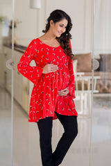 Floral Tangerine Gathered Maternity Top