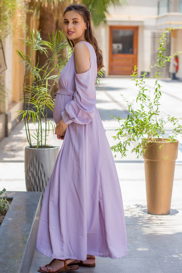 Luxury Mauve Cuffed Sleeve Cold Shoulder Maternity Gown - MOMZJOY.COM