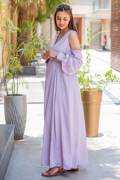 Luxury Mauve Cuffed Sleeve Cold Shoulder Maternity Gown