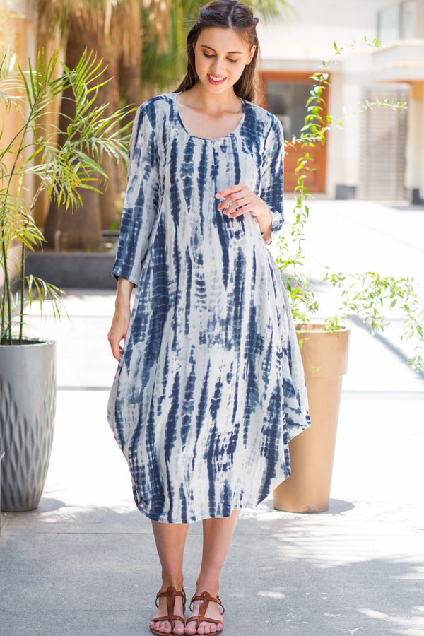 Blue Tie-Dye Cowl Maternity & Nursing Dual Dress Kurta - MOMZJOY.COM