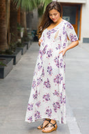 White Lavender Maternity & Nursing Wrap Dress - MOMZJOY.COM