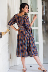 Chic Chestnut Plaid Maternity & Nursing Dress