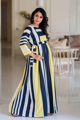 Fire & Ice Stripe Crepe Maternity & Nursing Maxi Dress