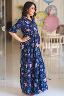 Luxe Navy Bloom Maternity & Nursing Wrap Dress - MOMZJOY.COM