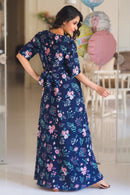 Luxe Navy Bloom Maternity & Nursing Wrap Dress