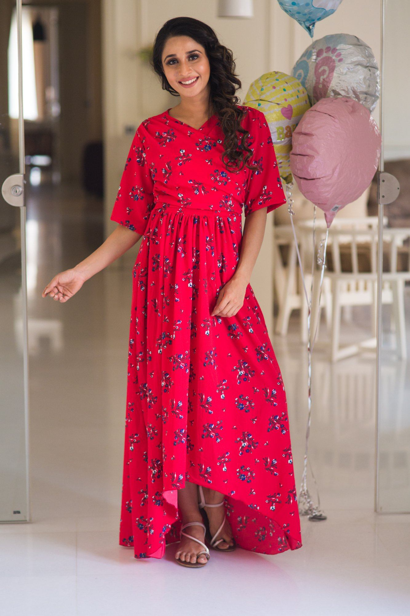 Rose Red Hi-Low Maternity & Nursing Wrap Dress