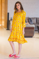 Merry Yellow Maternity & Nursing Night Dress - MOMZJOY.COM