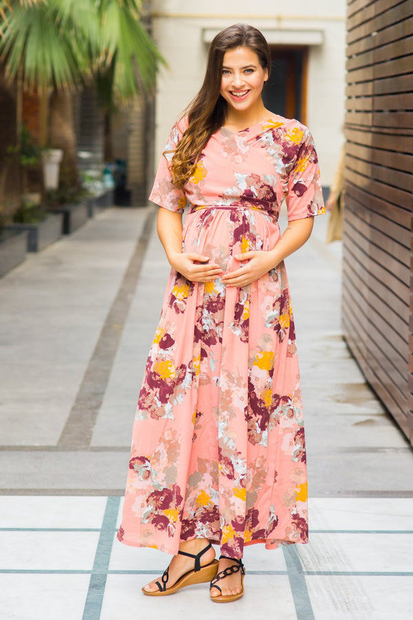 Carolina Peach Floral Maternity & Nursing Wrap Dress - MOMZJOY.COM