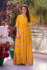Fresh Blossom Mustard Maternity & Nursing Crepe Wrap Dress - MOMZJOY.COM