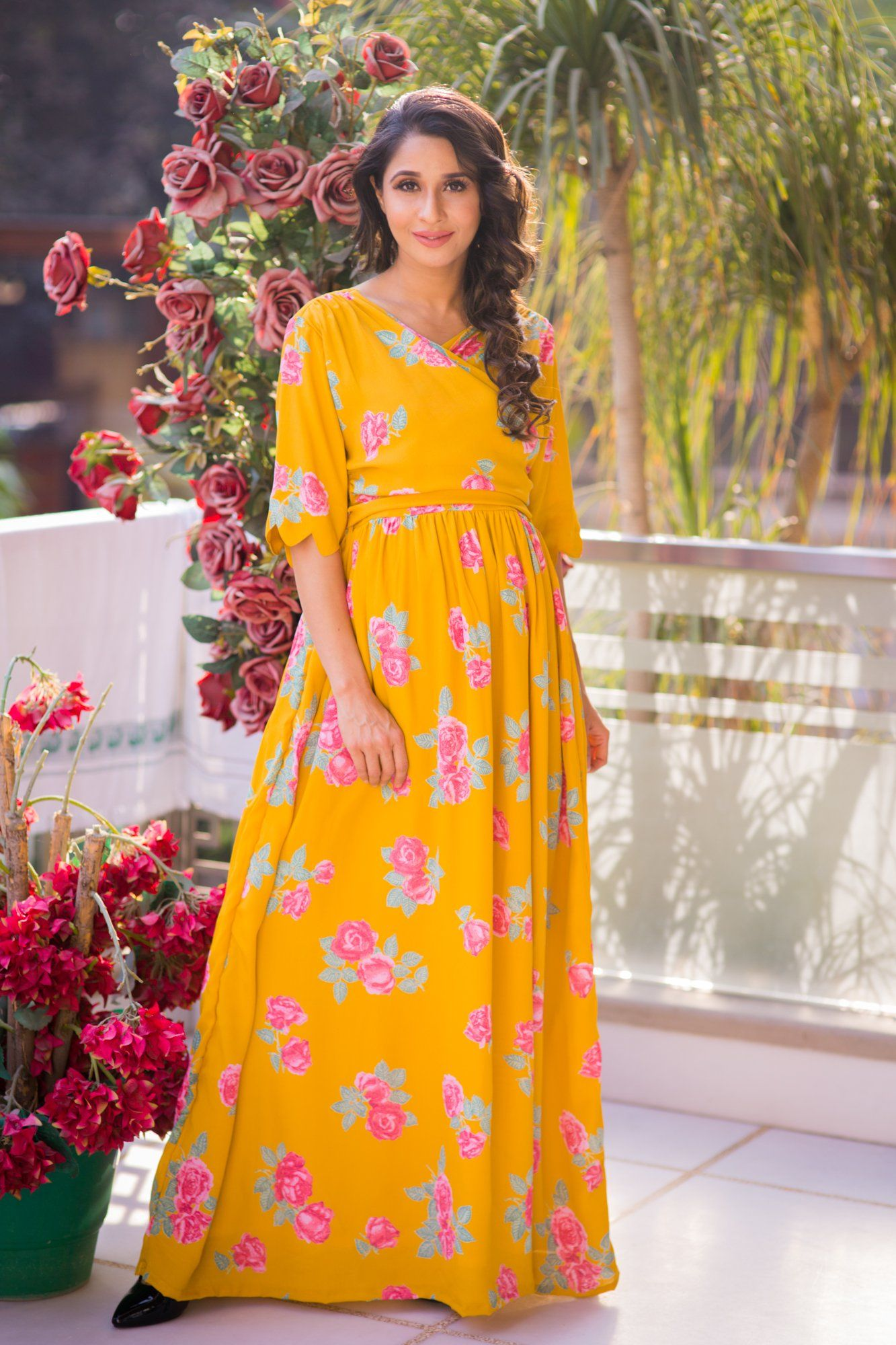 Formal maternity dresses online images braidsmaid dress buy maternity clothes pregnancy wear online india fresh blossom mustard maternity nursing crepe wrap dress ombrellifo ombrellifo Choice Image