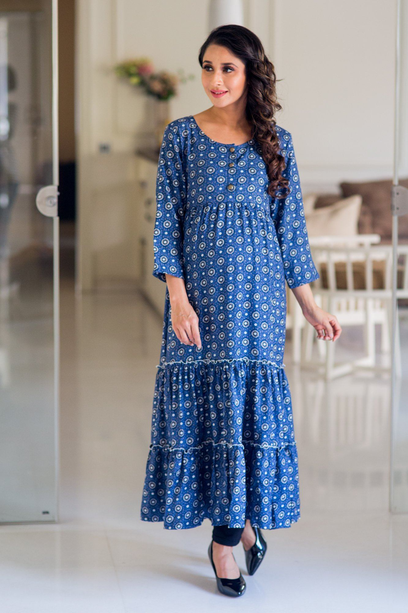 Moonlight Layered Long Maternity and Nursing Kurta Dress