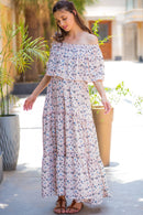 Pristine Pink Off-Shoulder Maternity Maxi