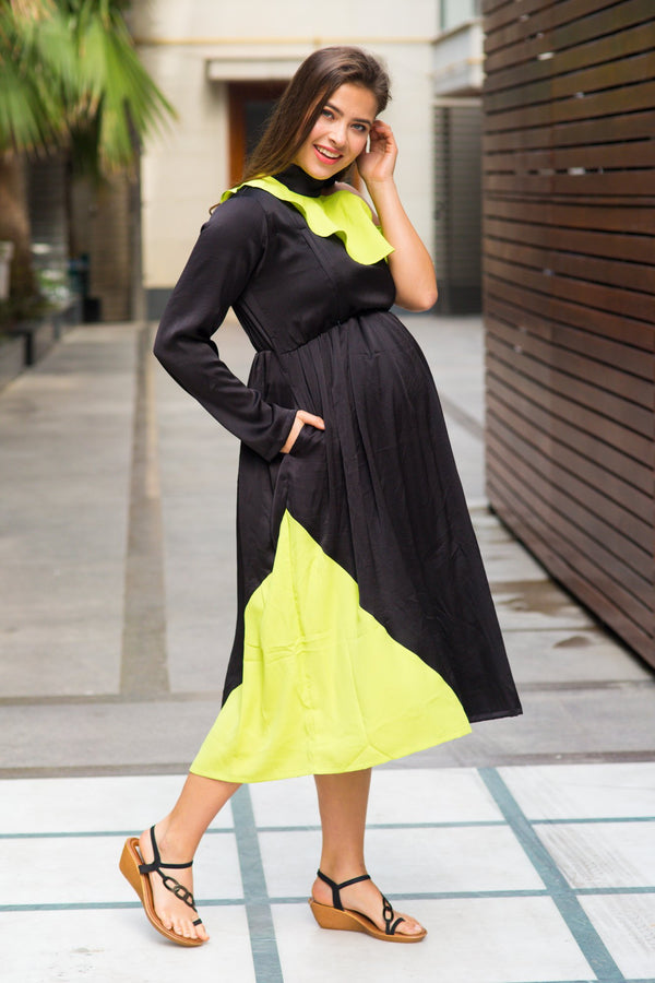 Jade Lime Neck Tie Maternity & Nursing Dress