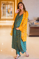 Set of 2 - Emerald Cotton Maternity Jumpsuit with Cover up - MOMZJOY.COM