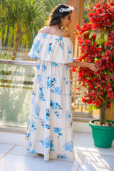 Serene White Baby Blue Floral Off-Shoulder Maternity Maxi Dress