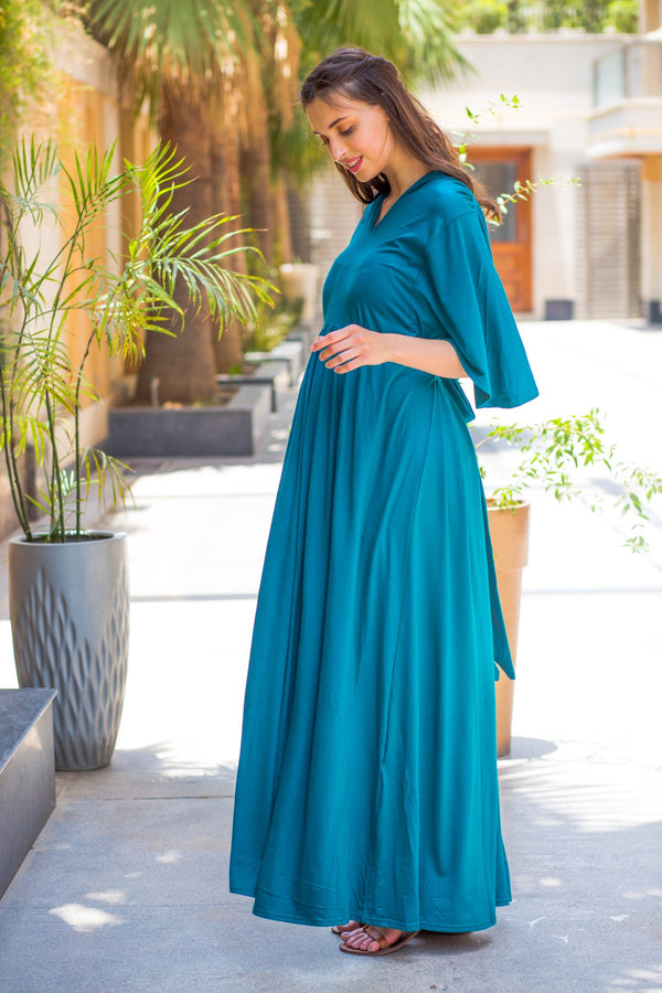 Exclusive Teal Maternity Gown - MOMZJOY.COM