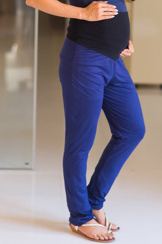 Deep Blue Over Bump Stretchable Maternity Leggings