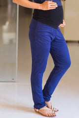 Deep Blue Over Bump Stretchable Maternity Leggings - MOMZJOY.COM
