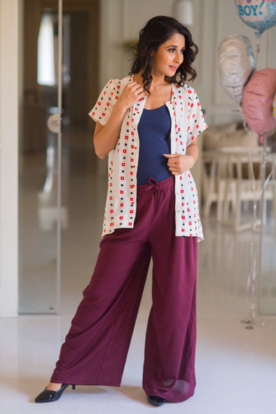 Burgundy Maternity Cotton Palazzo Pants - MOMZJOY.COM