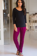 Burgundy Over Bump Stretchable Maternity Leggings - MOMZJOY.COM