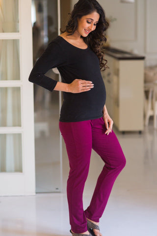 Burgundy Over Bump Stretchable Maternity Leggings