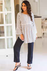 Black Maternity Cotton Over Bump Pants - MOMZJOY.COM
