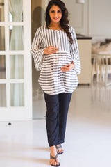 Black Maternity Cotton Over Bump Pants