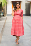 Persian Red Check Cotton Maternity and Nursing Dress - MOMZJOY.COM