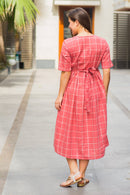 Persian Red Check Cotton Maternity and Nursing Dress
