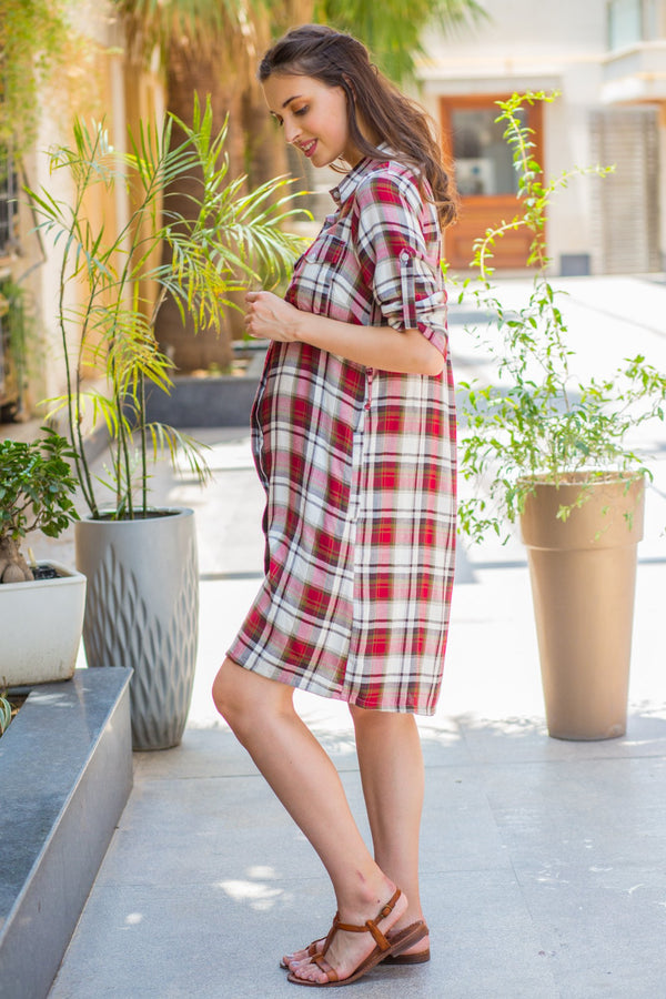 Classic Red Plaid Maternity & Nursing Shirt Dress - MOMZJOY.COM