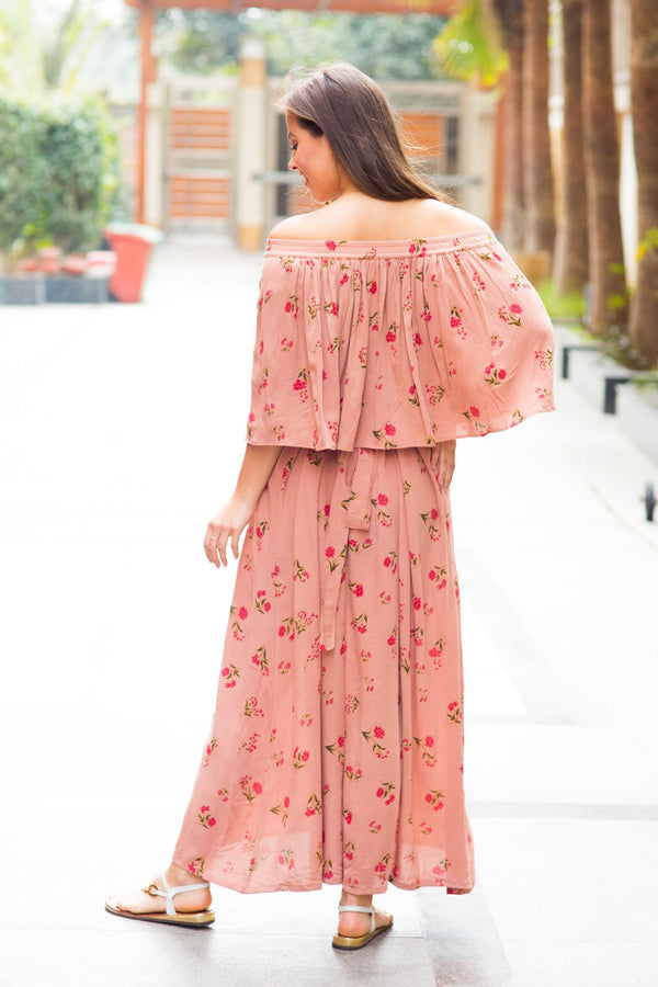 Honey Dew Blossom Off-Shoulder Maternity Maxi Dress - MOMZJOY.COM