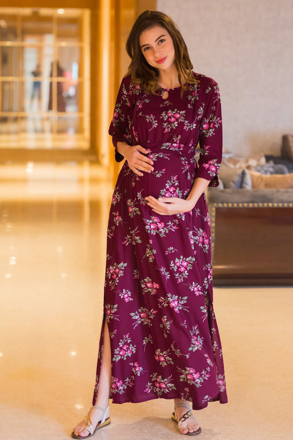Wine Floral Side Slits Concealed Zips Feeding Dress - MOMZJOY.COM