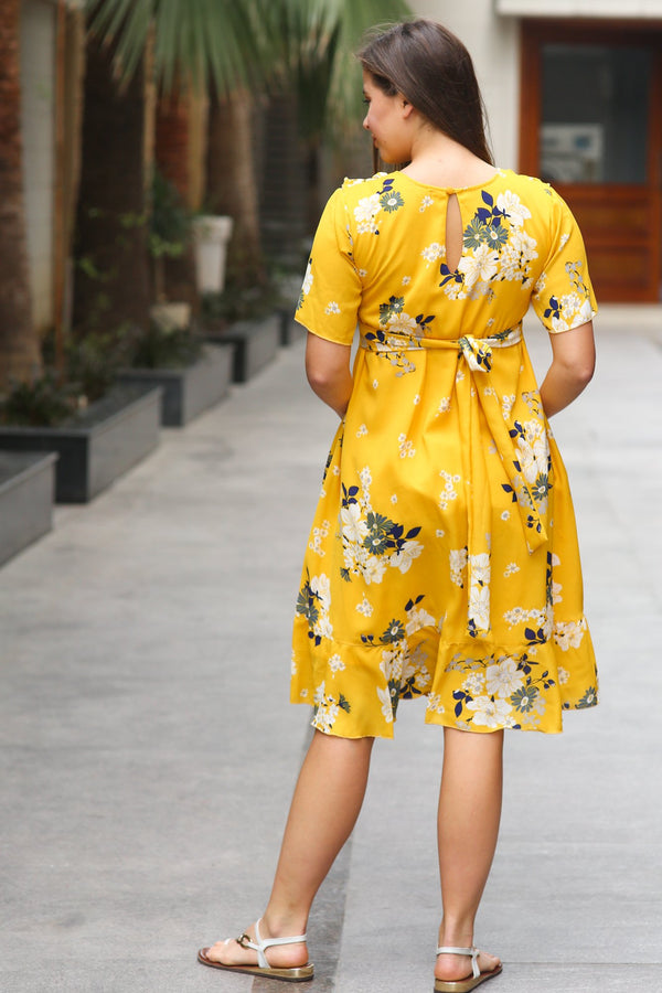 Sunrise Yellow Frill Maternity & Nursing Dress