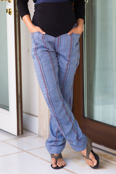 Denim Striped Over Bump Pants - MOMZJOY.COM