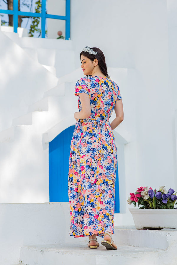 Azure Lily Pintucks Concealed Zips Dress