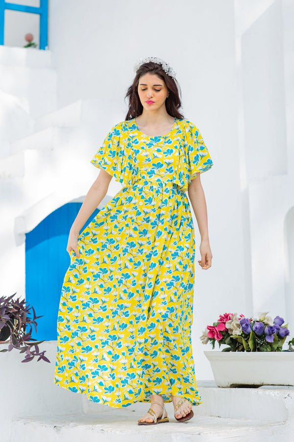 Sunny Floral Maternity & Nursing Flap Dress