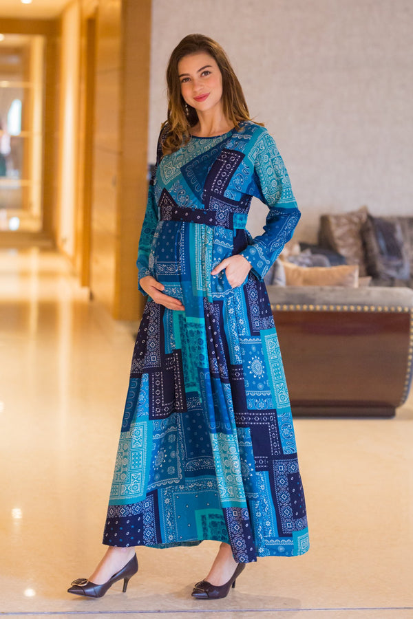 Indigo Pattern Maternity & Nursing Dress - MOMZJOY.COM