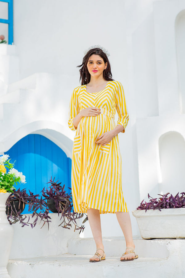 Yellow Sleek Striped Pocket Maternity & Nursing Dress