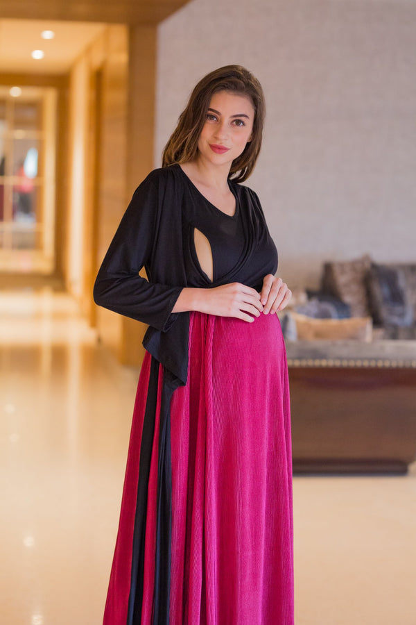Luxe Rose Pleated & Nursing Wrap Dress - MOMZJOY.COM