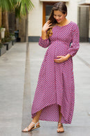 Classic Dual Red Front Bow High-Low Maternity & Nursing Dress - MOMZJOY.COM