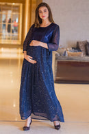Starry Blue Silver Sequin Maternity & Nursing Dress - MOMZJOY.COM
