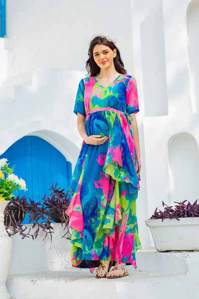 Vibrant Rainbow Maternity Flow Dress