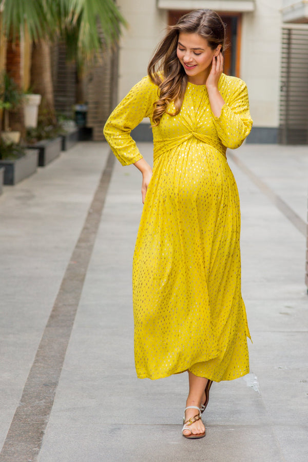 Cheery Gold Sprinkle Embellished Knot Maternity Midi Dress - MOMZJOY.COM